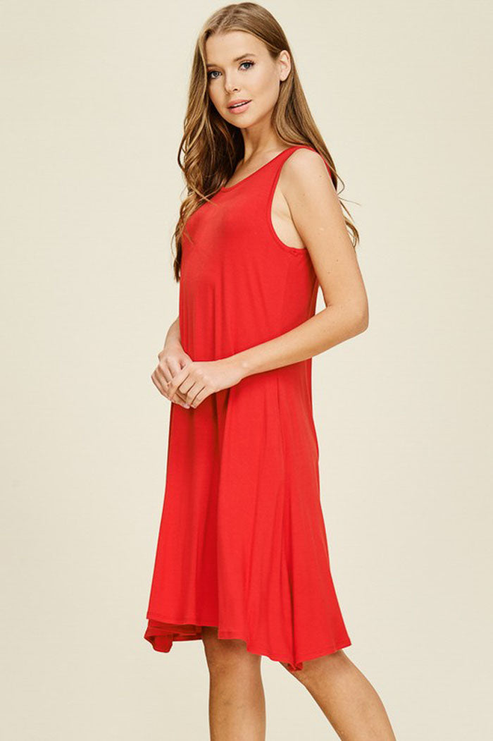 Mickey Basic Midi Dress : Poppy Red