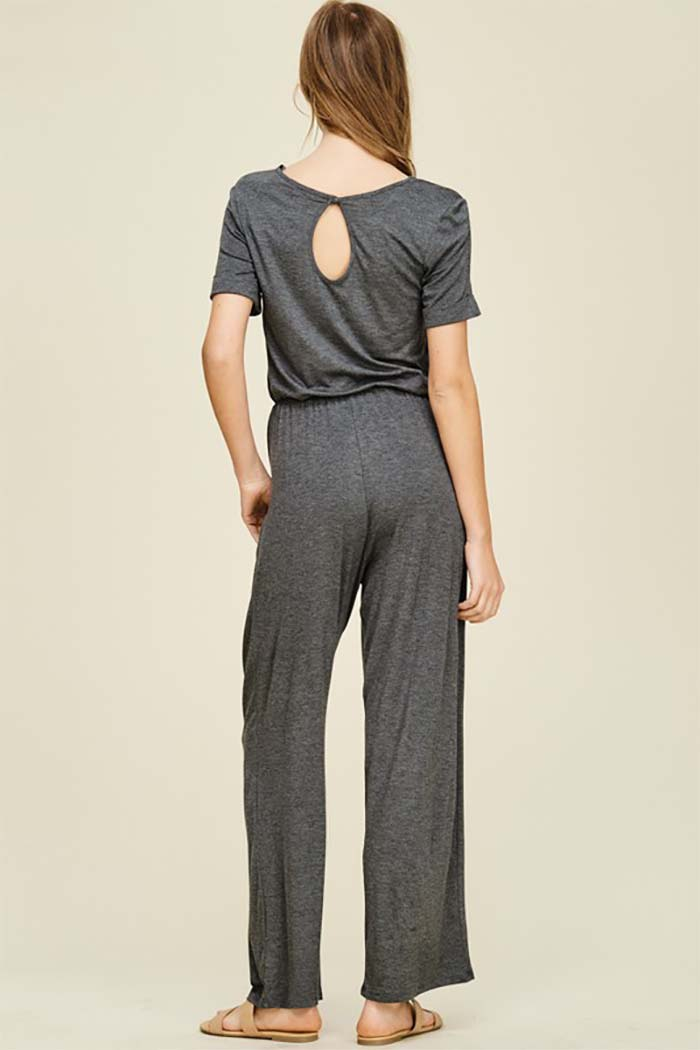 Peyton Elastic Waist Straight Jumpsuit with Pockets : Mid Grey