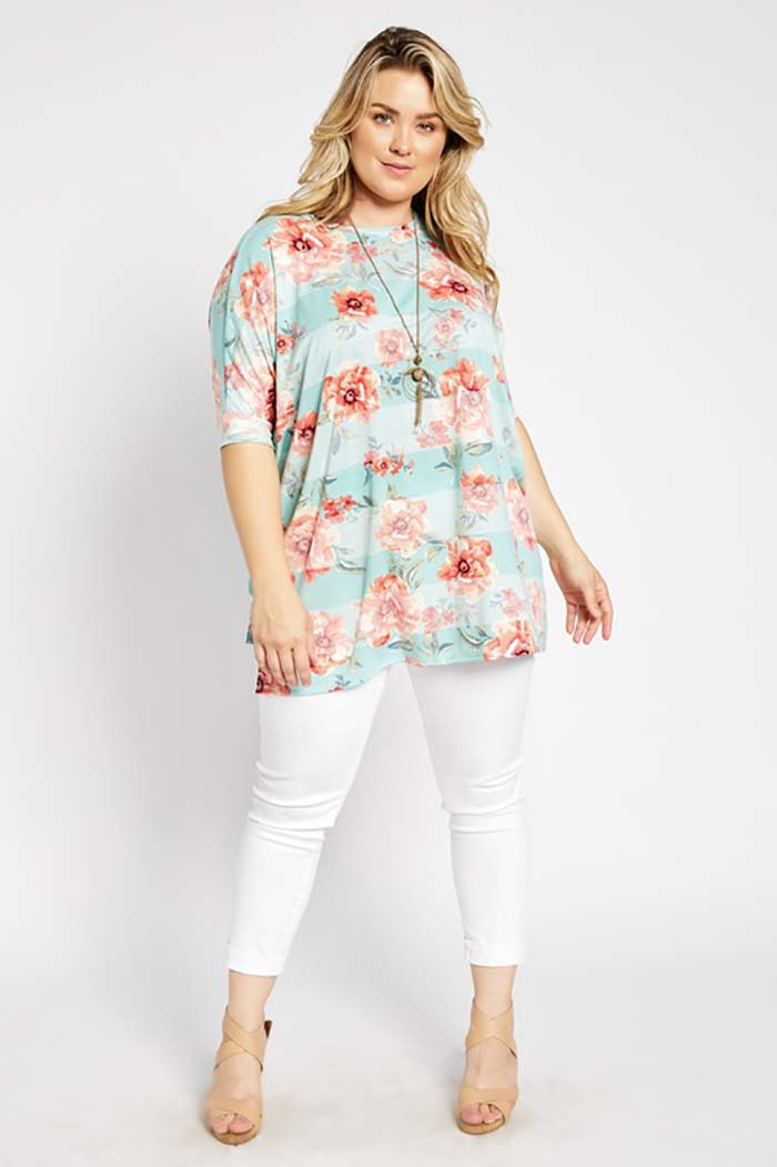 Chanel Stripe Floral Loose Fit Tunic Top Plus : Mint