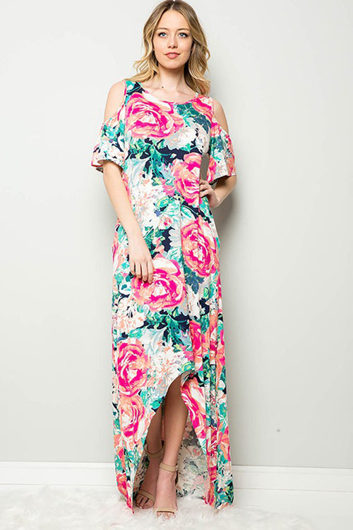 Mary Floral Garden Maxi Dress : Navy/Fuchsia