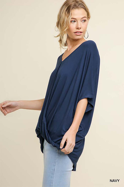 Kassidy Solid Surplice Top : Navy