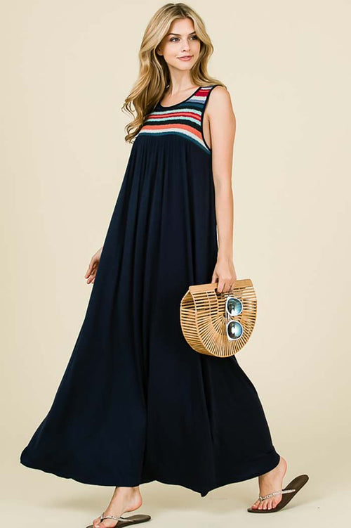 Aurora Sleeveless Maxi Dress : Navy