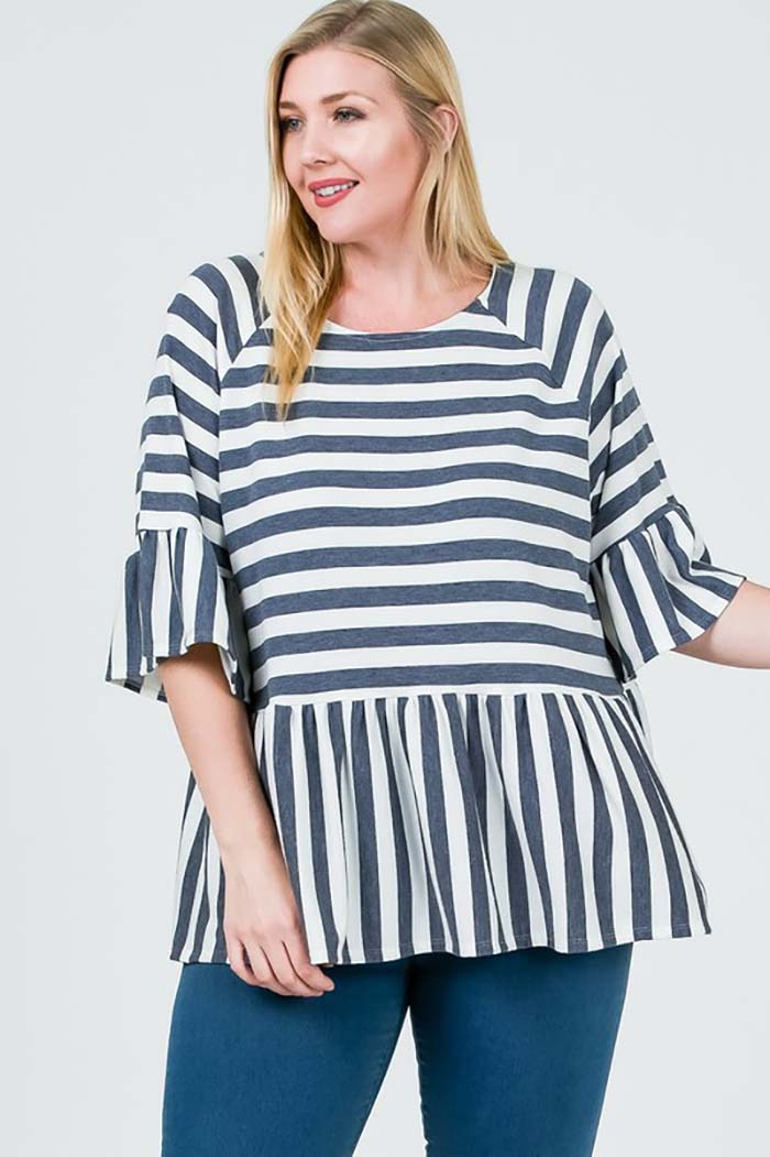 Genevieve Stripe Baby Doll Top Plus : Navy