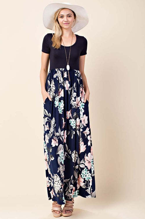 Kaylee Floral Maxi Dress : Navy