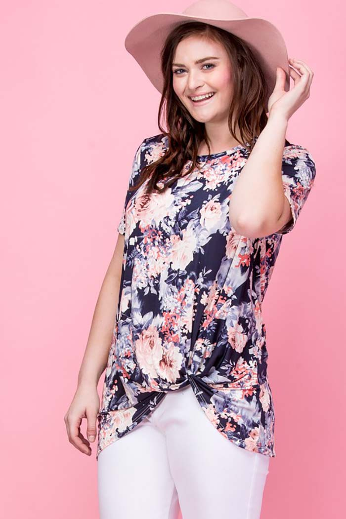 Avery Floral Side Knot Top Plus : Navy/Mauve