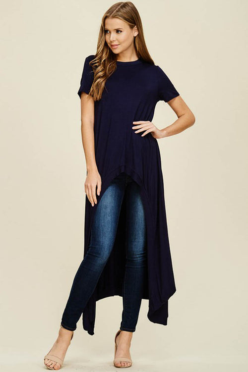 Abbey Hi-lo Tunic Top : Navy
