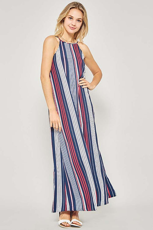 Caroline Multi Stripe Maxi Dress : Navy/Red