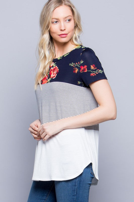 Avery Triple Color Block Top : Navy