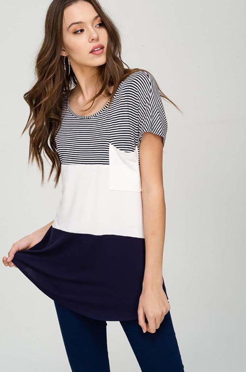 Eleanor Stripe Solid Color Block Top : Navy