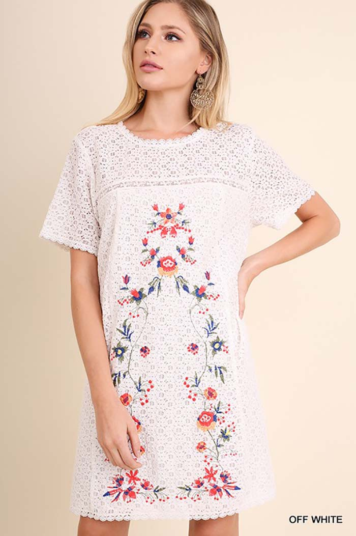 Carter Embroidered Dress : Off White