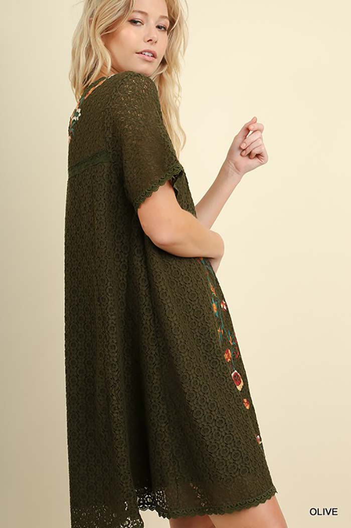 Carter Embroidered Dress : Olive