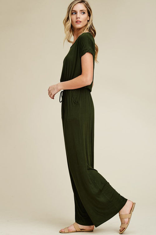 Sophie Open Back Jumpsuits : Olive