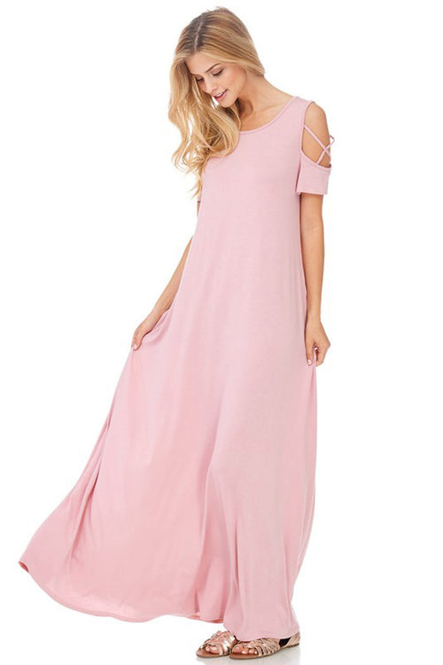 Flowy Silhouette Maxi Dress : Rose