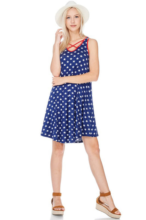 Star Printed Mini Dress - mini - GOZON