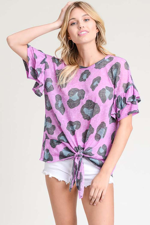 Layla Leopard Print Tie Front Top : Orchid