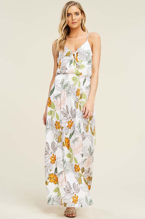 Evelyn Floral Maxi Dress : Off White