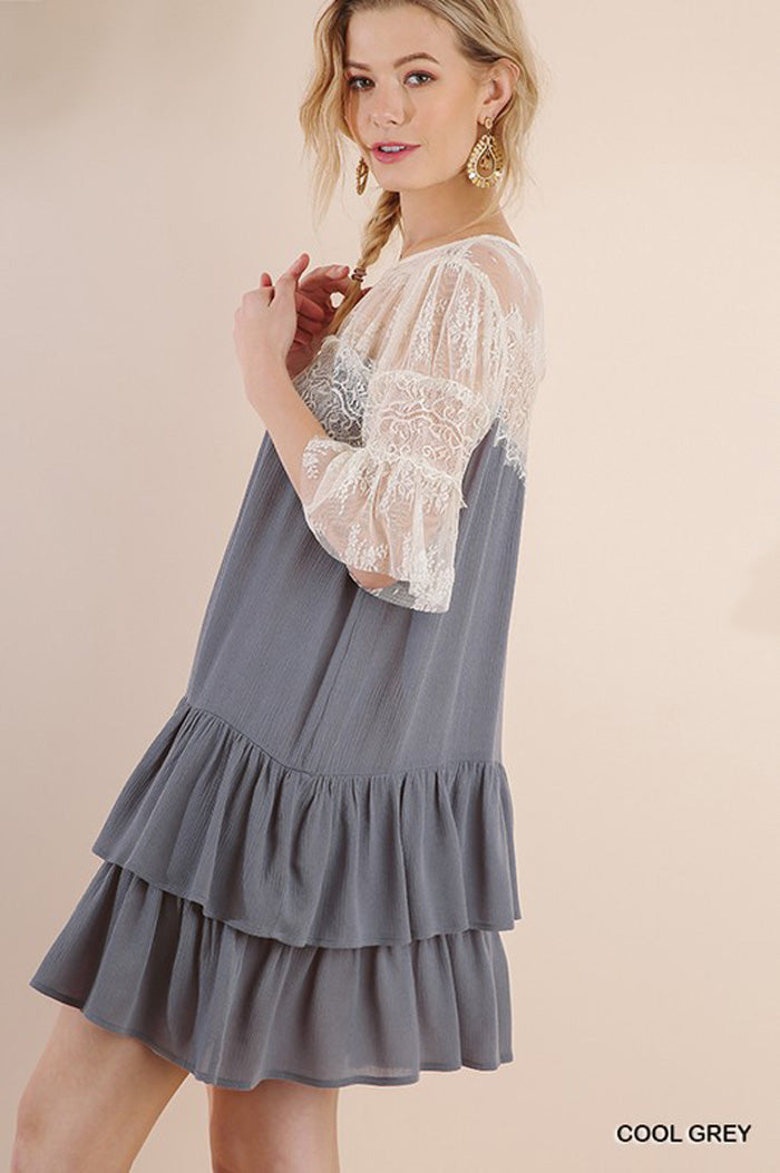 Olivia Lace Swing Dress : Cool Grey