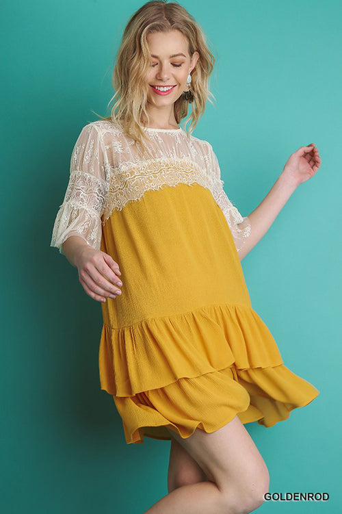 Olivia Lace Swing Dress : Goldenrod
