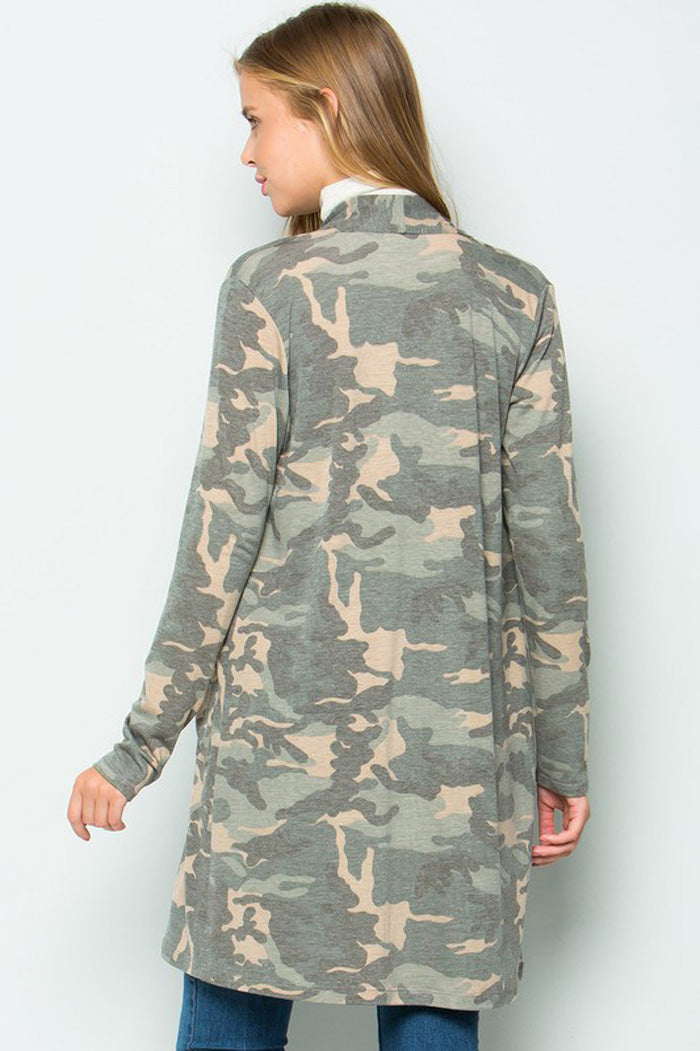 Olivia Open front Camouflage Cardigan : Camouflage