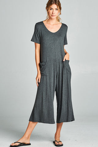 Plunging V-Neck Jumpsuits : Black