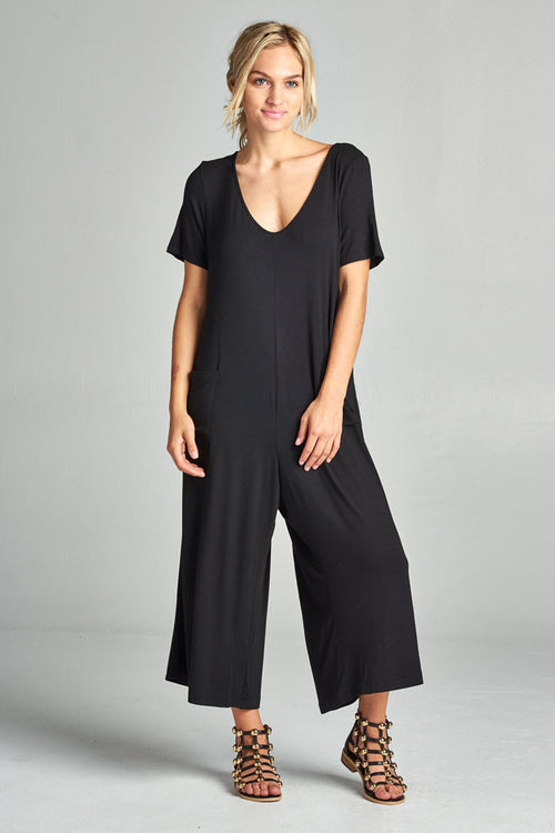 Front Pockets Solid Jumpsuits : Black