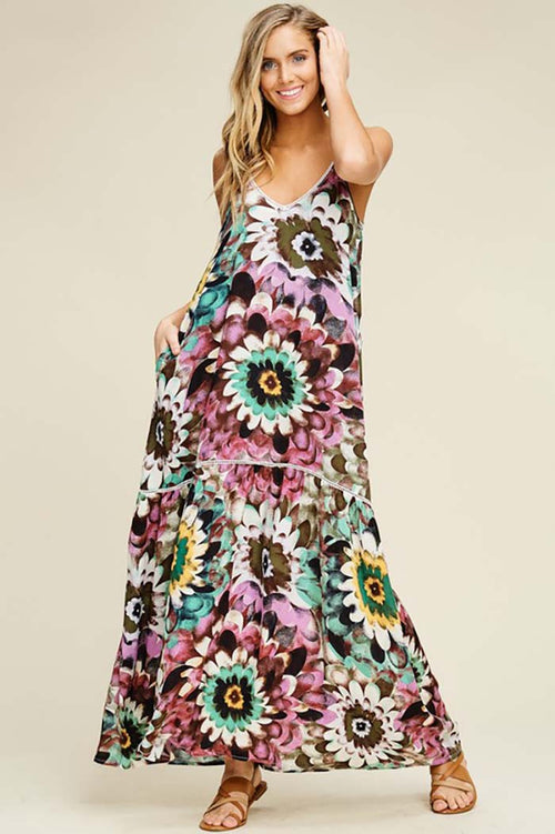 Eleanor Woven Floral Maxi Dress : Plum