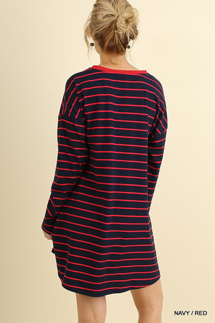 Melanie Stripe Tee Dress : Navy/Red