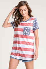 Abigail Star Stripe Top : Red/Blue