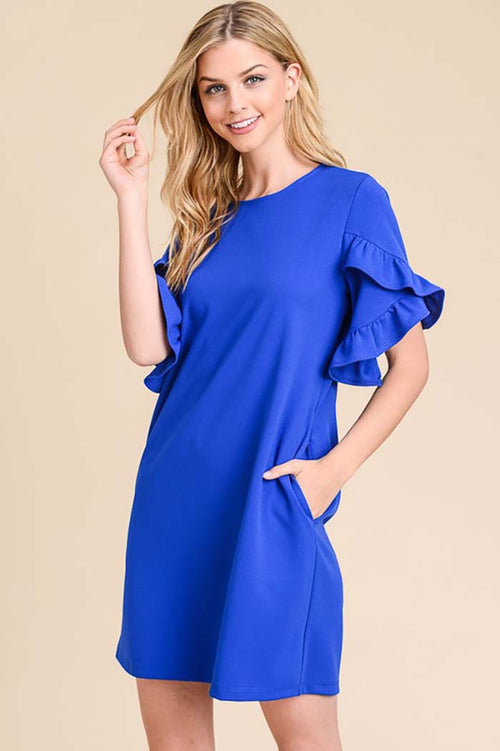 Lucy Solid Ruffle Tulip Dress : Royal Blue