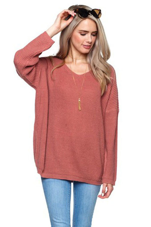 Adeline Lace-Up Sweater : Dusty Blush