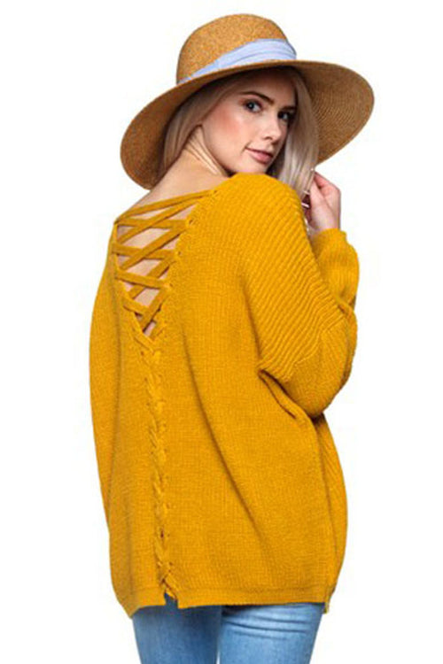 Adeline Lace-Up Sweater : Mustard