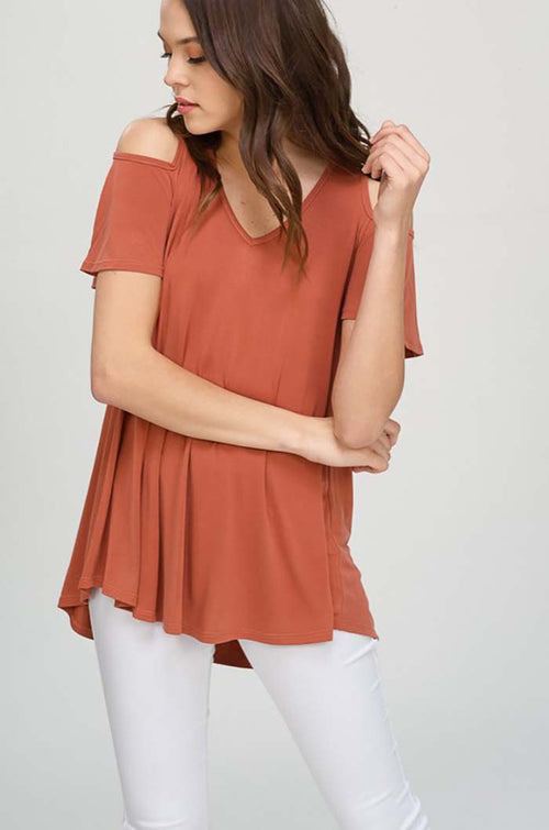 Mckenzie Cold Shoulder Tunic Top : Rust