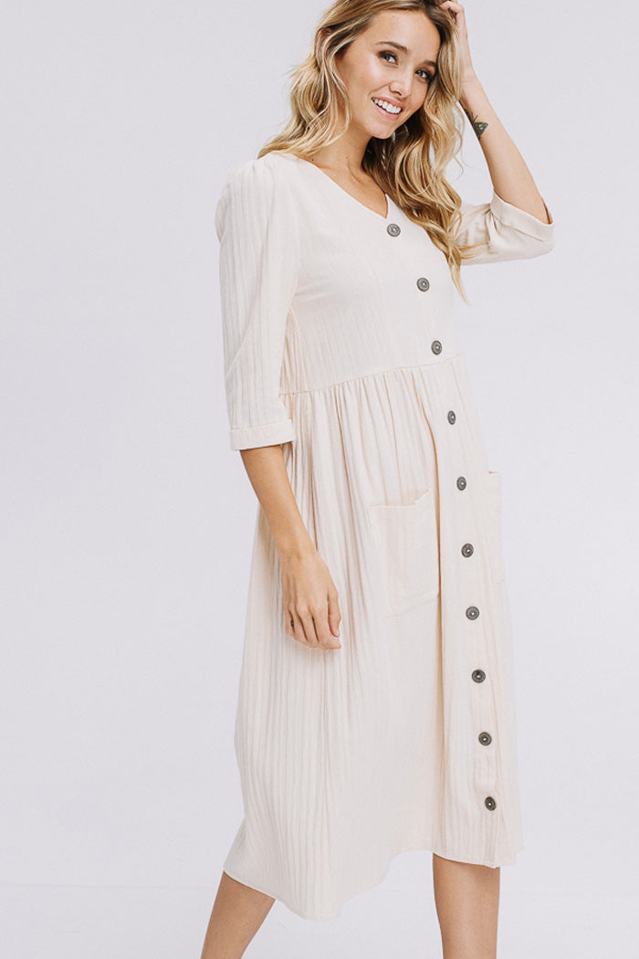 Chloe Button Down Solid Dress : Oatmeal.