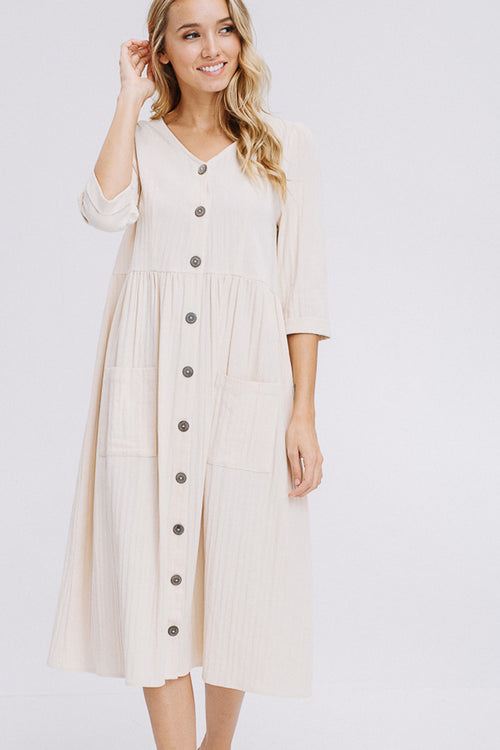 Chloe Button Down Solid Dress : Oatmeal