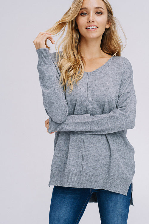 Ruth Cozy Long Sleeve Top : Heather Grey