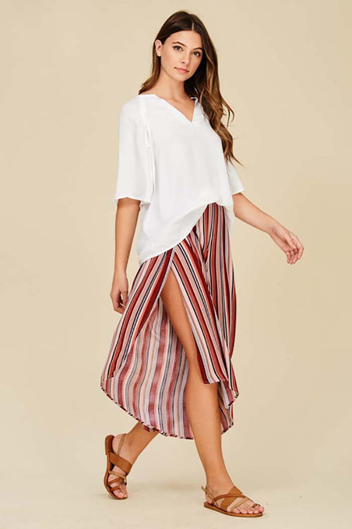 Kiara Stripe Overlaid Culotte Pants : Red