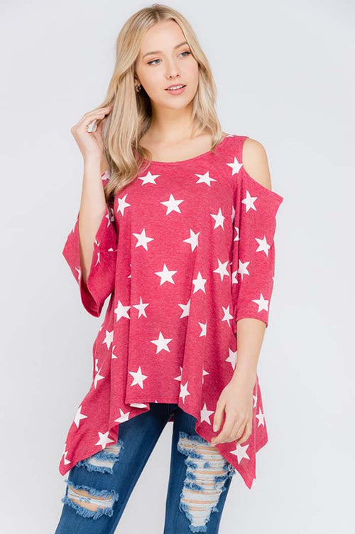 Kamryn Star Print Open Shoulder Top : Red