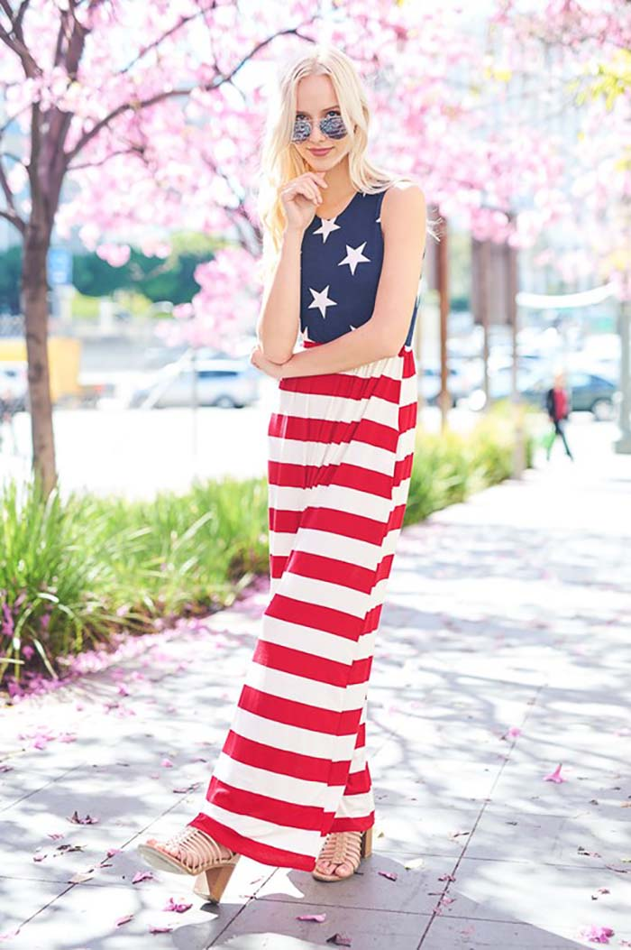 Flag Maxi Dress : Red