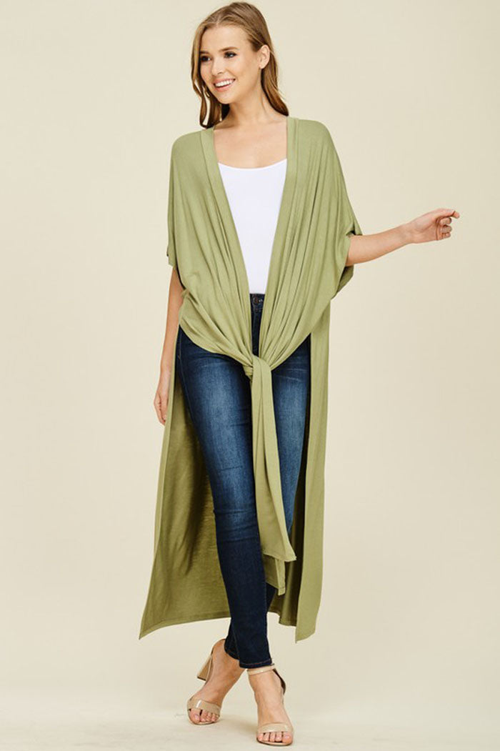Ruby Slit Duster Cardigan : New Olive