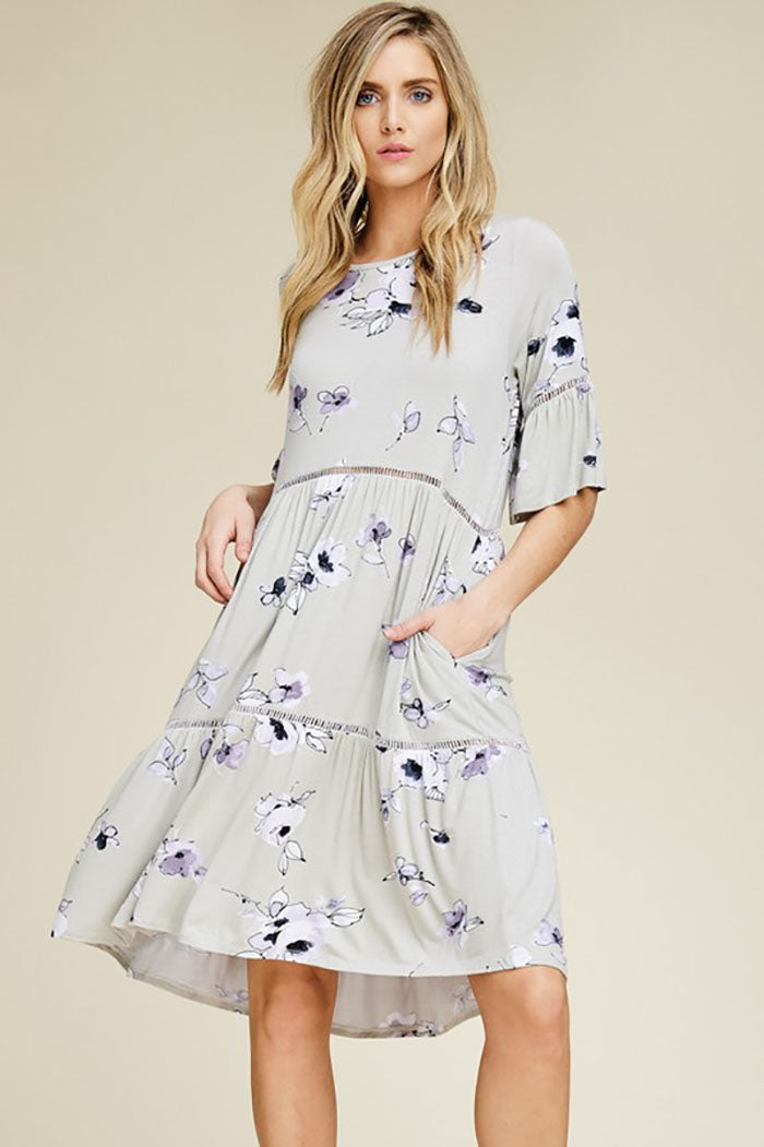 Ashley Floral Midi Dress : Sage