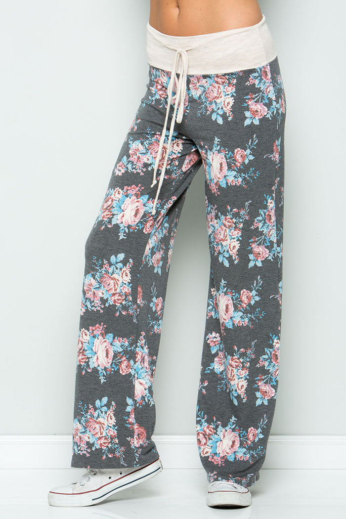 Sweet Floral Pants - Charcoal/Blue