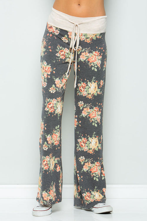Sweet Floral Pants - Charcoal/Gold