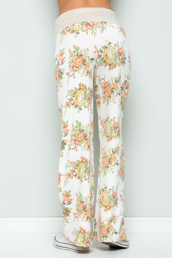 Sweet Floral Pants - Ivory