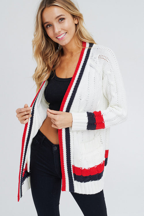 Hannah Cable Knit Cardigan : White