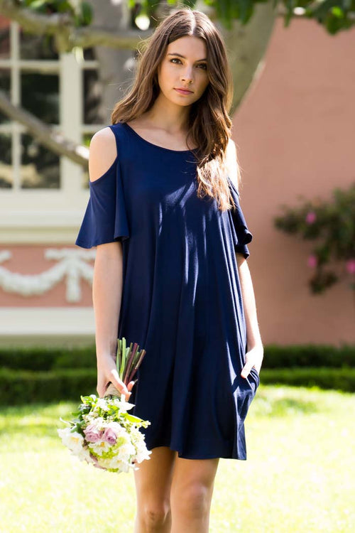 Date Look Cold Shoulder Dress - Mini - GOZON