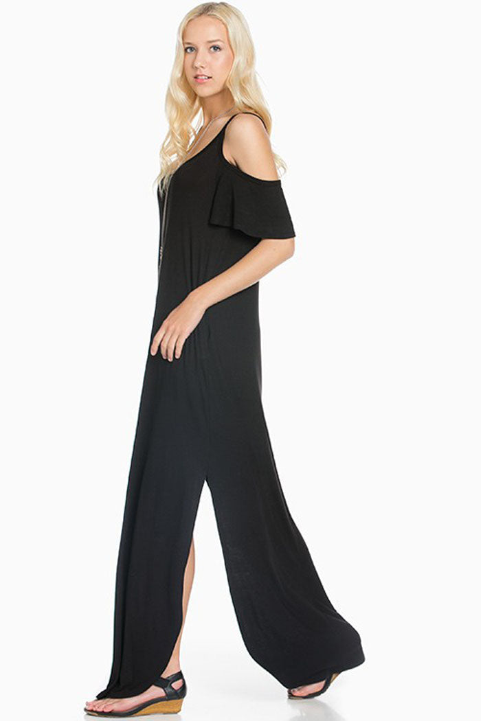 Round Hem Solid Maxi Dress : Navy