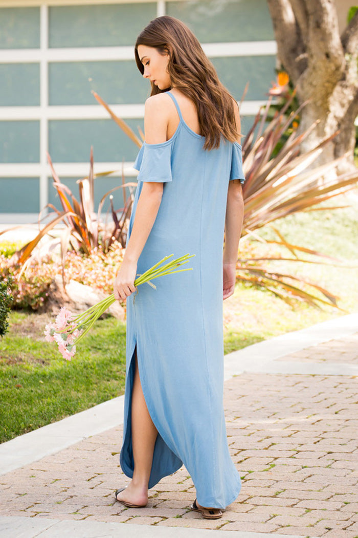 Round Hem Solid Maxi Dress : Chambray