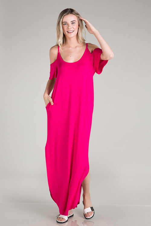 Round Hem Solid Maxi Dress : Fuchsia