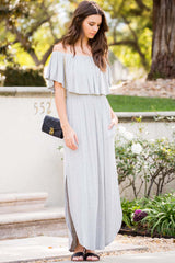 Solid Ruffle Off Shoulder Maxi Dress - Maxi - GOZON