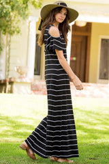 Open Shoulder Stripe Maxi Dress - Maxi - GOZON